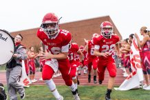 Wolcott players enter field for Friday Night Football, their first game of the season during the NVL Football game between Naugatuck and Wolcott at Wolcott High School in Wolcott on Friday. Bill Shettle Republican-American