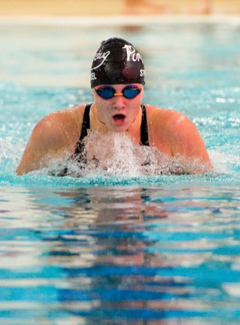 Pomperaug's Jada Stietzel competes in the 100M breaststroke during their meet against Stratford in SWC swim action Tuesday at Pomperaug High School. Jim Shannon Republican American