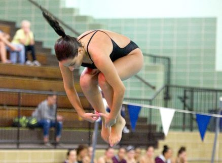 Sacred Heart's Julia Petta competes in the diving competition during their meet with Seymour Wednesday at Kennedy High School in Waterbury. Jim Shannon Republican American
