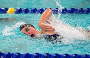 Seymour's Kaitlyn McCluskey took first in the 500M freestyle during their meet with Sacred Heart Wednesday at Kennedy High School in Waterbury. Jim Shannon Republican American