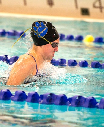 Seymour's Olivia Velleco competes in the 100M breaststroke during their meet with Sacred Heart Wednesday at Kennedy High School in Waterbury. Jim Shannon Republican American