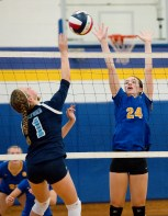 Seymour's Raith Rousseau (24) tries to block a shot by Oxford's Olivia Lombardi (1) during their match Tuesday at Seymour High School. Jim Shannon Republican American