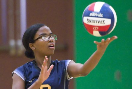 Kennedy's Krystal Matos (3) prepares to serve during their NVL volleyball game against Wilby Tuesday at Wilby High School in Waterbury. Jim Shannon Republican American