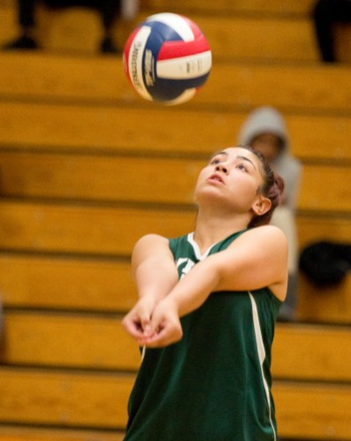 Wilby's Natasha Rodriguez (5) bumps the ball as she plays a serve during their NVL volleyball game against Kennedy Tuesday at Wilby High School in Waterbury. Jim Shannon Republican American