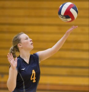 Kennedy's Marin Delaney (4) serves the ball during their NVL volleyball game against Wilby Tuesday at Wilby High School in Waterbury. Jim Shannon Republican American