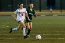 Watertown's Madeline Daigneault #8 races downfield past Holy Cross' Sophia Vescera #7 during a NVL Girls Soccer game between Watertown and Holy Cross at Municipal Stadium in Waterbury on Wednesday. Watertown won 2-0, scoring two second half goals. Bill Shettle Republican-American