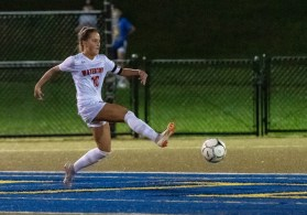 Watertown's Meadow Mancini #10 shoots on goal during a NVL Girls Soccer game between Watertown and Holy Cross at Municipal Stadium in Waterbury on Wednesday. Watertown won 2-0, scoring two second half goals. Bill Shettle Republican-American