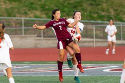 Naugatuck's Noelle Jacobi #7 gets control of the ball in front of Watertown's Alyssa Santangeli #14 during a Girls NVL Soccer game between Watertown and Naugatuck at Naugatuck High School in Naugatuck on Monday. Bill Shettle Republican-American