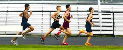 The boys cross country runners take to the course during Tuesday's cross country meet with Derby, Kennedy, Sacred Heart and Woodland at Woodland Regional High School in Beacon Falls. Jim Shannon Republican American