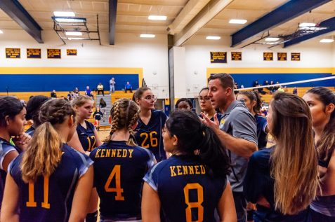 Kennedy girls volleyball coach Michael Stango talks to his players in a timeout during a girls volleyball match between Nonnewaug and Kennedy High at Kennedy High School in Waterbury on Thursday. Bill Shettle Republican-American