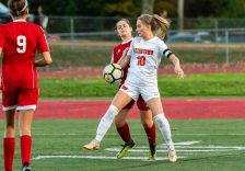 Watertown's Meadow Mancini #10 tries to gain position and control the ball against Wolcott's Bella Piacentini #4 during a Girls NVL Soccer game between Watertown and Wolcott at Wolcott High School in Wolcott on Wednesday. Bill Shettle Republican-American