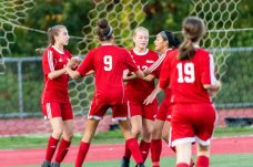 Wolcott's Tiona Watts #13, center celebrates her goal with her teammates during a Girls NVL Soccer game between Watertown and Wolcott at Wolcott High School in Wolcott on Wednesday. Bill Shettle Republican-American