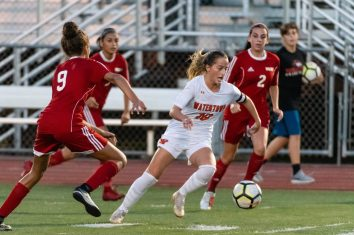 Watertown's Meadow Mancini #10 turns on the ball in front of Wolcott's Ella Vaughn #9 during a Girls NVL Soccer game between Watertown and Wolcott at Wolcott High School in Wolcott on Wednesday. Bill Shettle Republican-American