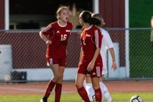 Wolcott's Michaela Vaughn #16 has words with Watertown's Meadow Mancini #10, not shown during a Girls NVL Soccer game between Watertown and Wolcott at Wolcott High School in Wolcott on Wednesday. Bill Shettle Republican-American