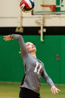 Naugatuck's Sarah Wiesniewski #11 gets ready and serves the ball during a NVL Volleyball match between Naugatuck and Wilby at Wilby High School in Waterbury on Thursday. Bill Shettle Republican-American