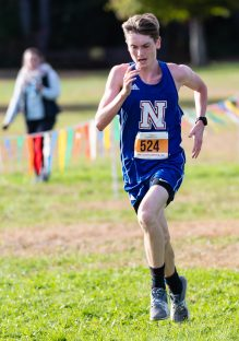 Eddie Nicholas of Nonnewaug bib # 524 heads to the finish line during the BL Boys and Girls Cross Country Championships at Black Rock State Park in Watertown on Friday. Bill Shettle Republican-American