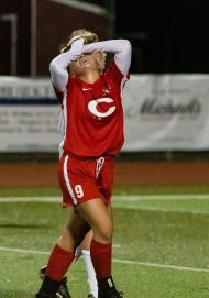 Cheshire's Annie Acquavita #9 reacts after just missing a goal during a Girls SCC Soccer game between Old Lyme and Cheshire at Cheshire High School in Cheshire on Wednesday. Bill Shettle Republican-American