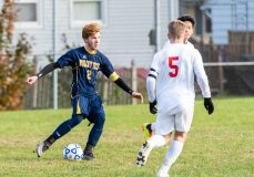 Wolcott Tech's Colin Riggs #2 looks to pass the ball with Prince Tech's Jordan Baker #5 looking on during a boys CTC soccer game between Prince Tech and Wolcott Tech at Oliver Wolcott Tech School in Torrington on Thursday. Bill Shettle Republican-American