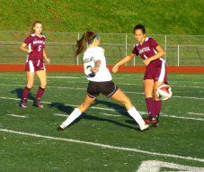 Naugatuck Woodland girls soccer - Paige Cruz (5) Nicole Sherman (3) Catarina Rego (4)
