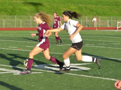 Naugatuck Woodland girls soccer - Paige Cruz (5)n Julia Casimiro (5)