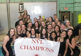 Seymour's 2018 NVL champion girls swim team at Kennedy High School Friday night. Seymour won the NVL title with an overall score of 755.5. Michael Kabelka / Republican-American