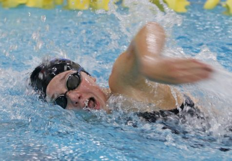 Seymour's Kaitlyn McCluskey won the 500 yard freestyle during the NVL finals at Kennedy High School Friday night. McCluskeyhad a time of 5:27.85 Seymour won the NVL title with an overall score of 755.5. Michael Kabelka / Republican-American