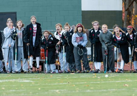 Cheshire's players cheer their teammates on from the sidelines during the SCC Championship game between Cheshire and Guilford at Guilford High School in Guilford on Saturday. Guilford scored two unanswered goals, after Cheshire tied it up to win 3-1, winning the SCC Title. Bill Shettle Republican-American