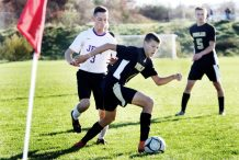 #4 Matthew Iannone of Woodland keeps the ball from #3 Kyle Bechard of Aerospace defends during CIAC Class M soccer action in Beacon Falls Wednesday. Steven Valenti Republican-American
