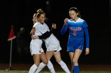 Watertown's Meadow Mancini #10 celebrates her goal with teammate Morgan Dodge #11, as Tolland's Rachel Lee #2 looks on during a Girls Soccer Class L Semifinal game between Watertown and Tolland at Veterans Memorial Stadium at Willowbrook Park in New Britain on Monday. Bill Shettle Republican-American