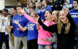 Seymour fans celebrate as their team beats Weston to win the CIAC Class M volleyball championship in East Haven Saturday. Steven Valenti Republican-American
