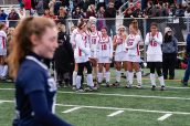 Cheshire Field Hockey players from left, Meaghan Hogan #22, Megan Daly #10, Olivia Salamone #33, Kiley Jackson #16, and Jade Barnes #46 all look on as Staples players walk back to their bench area celebrating their win during the CIAC 2018 Class L Field Hockey Championship game between Staples and Cheshire at Wethersfield High School in Wethersfield on Sunday. Staples beat Cheshire 2-0, thus winning the Class L Championship for 2018. Bill Shettle Republican-American