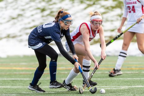Cheshire's Mikayla Crowley #3 battles with Staples' Madelaine Ambrose #10 for control of the ball during the CIAC 2018 Class L Field Hockey Championship game between Staples and Cheshire at Wethersfield High School in Wethersfield on Sunday. Staples beat Cheshire 2-0, thus winning the Class L Championship for 2018. Bill Shettle Republican-American
