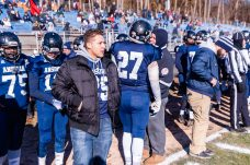 Ansonia injured player Darwin Amaya #25 looks on from the sidelines before the big NVL clash of unbeatens and the annual Thanksgiving Day game between Naugatuck and Ansonia at Jarvis Stadium at the Nolan Field Athletic Complex in Ansonia on Thursday. Bill Shettle Republican-American
