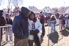 Naugatuck injured player Elijah Robinson #6 has a heart to heart talk with his father Marcus along the sidelines during a NVL clash of unbeatens and the annual Thanksgiving Day game between Naugatuck and Ansonia at Jarvis Stadium at the Nolan Field Athletic Complex in Ansonia on Thursday. Bill Shettle Republican-American