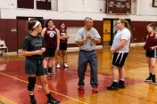 Torrington Girls Head coach Mike Fritch, centers teaches his girls the basic fundamentals during the girls basketball team's first practice as they prepare for the upcoming 2018 season at Torrington High School in Torrington on Wednesday. Bill Shettle Republican-American