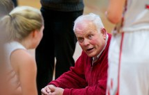 Northwestern head coach Fred Williams talks with his players during a time out in their game against Lewis Mills Tuesday at Northwestern Regional High School. Jim Shannon Republican American