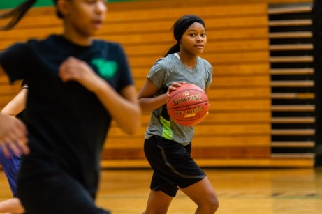 Sophomore Jynia Gibbs dribbles up court during the girls basketball team's practice as they prepare for the upcoming 2018 season at Wilby High School in Waterbury on Thursday. Bill Shettle Republican-American