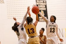 WCA's Leila Lazaro #13 and Taylor Dunn #10 attempts to block the shot of Sacred Heart's Mikayla Mobley #13 during a NVL Girls Basketball game between Sacred Heart and WCA at the Waterbury Career Academy in Waterbury on Thursday. Sacred Heart ending up beating a pesky WCA team 43-31. Bill Shettle Republican-American