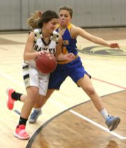 Woodland High School's Andra Bojka drives to the basket in front of Seymour High School's Jacey Cosciello during the girls varsity basketball game at Woodland Regional High School on Thursday night. Emily J. Reynolds. Republican-American