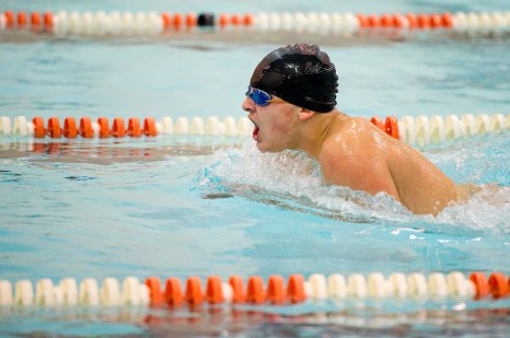Watertown's Matthew Pieger competes in the 100m breaststroke during their meet Tuesday with Wilby-Kaynor at Watertown High School. Jim Shannon Republican American