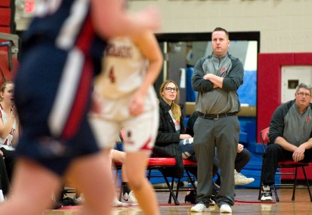 Pomperaug head coach Joe Fortier watches as his team takes on New Fairfield SWC action Tuesday at Pomperaug High School. Jim Shannon Republican American