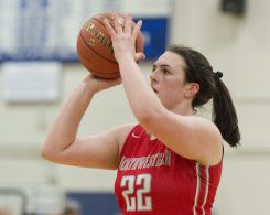Northwestern's Natalie Lederman (22) sinks a three-point shot in the first quarter of their NVL match up with Lewis Mills Friday at Lewis Mills. Jim Shannon Republican American