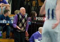Lewis Mills' head coach Al Ciarlo screams for a foul to be called during his team's NVL match up with Northwestern Friday at Lewis Mills. Jim Shannon Republican American