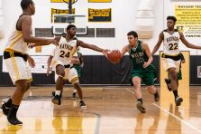 Kaynor Tech's Saijan McIntosh #24 tips the ball away from Jonathan Matias #23, as he drives downcourt during a non-league boys basketball game between Wilby and Kaynor Tech at Kaynor Tech High School in Waterbury on Wednesday. Kaynor Tech edged out Wilby at the end 68-58. Bill Shettle Republican-American
