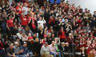 Wamogo High School boys varsity basketball fans cheer on the team during the game at Litchfield High School on Thursday night. Emily J. Reynolds. Republican-American