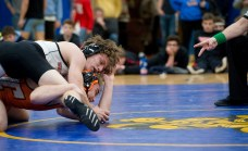 The referee scores two points for a reversal as Watertown's Xavier Powell defeated Terryville's Caleb Leclerc in the 145 lb. finals during the Berkshire-Valley Postseason Invitational held Saturday at the Gilbert School in Winsted. Jim Shannon Republican American