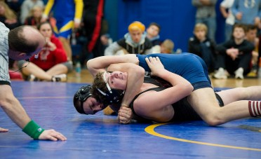 Nonnewaug's Jack Cronin and Gilbert's Jacob Twombly battle for the 182 lb. title during the Berkshire-Valley Postseason Invitational held Saturday at the Gilbert School in Winsted. Jim Shannon Republican American