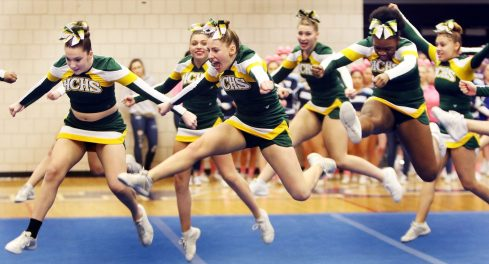 Holy Cross High competes in the NVL Cheerleading Championship at Crosby High School in Waterbury Saturday. Steven Valenti Republican-American