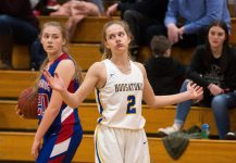 Housatonic's Tori Dodge (2) reacts to getting called for a foul against Nonnewaug's Victoria Maclean (20) during their Berkshire League semi-final game Tuesday at Northwestern Regional High School in Winsted. Jim Shannon Republican American