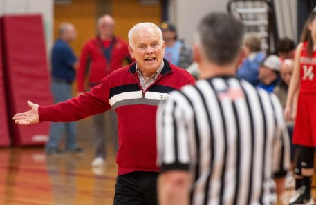 Northwestern's head coach Fred Williams wants to know why a foul was not called as he goes into halftime during the Berkshire League tournament finals against Housatonic Friday at Northwestern Regional High School in Winsted. Jim Shannon Republican American